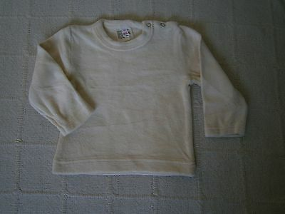 Vintage Baby Velour Long-Sleeve Top - Age 6-12 months - Cream Cotton/Nylon - New