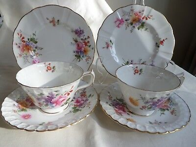 "Royal Crown Derby ""derby Posies"" 2 X Trios Cup Saucer And Side Plate (6 Items)"