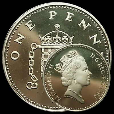 1996 Genuine Silver 1p One Pence Proof Coin FINE SILVER 999 PERFECT CONDITION