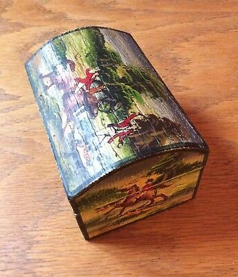 Hunt Horse Wooden Hinged Jewelry Box With Hand Painted Colorful Horses & Riders
