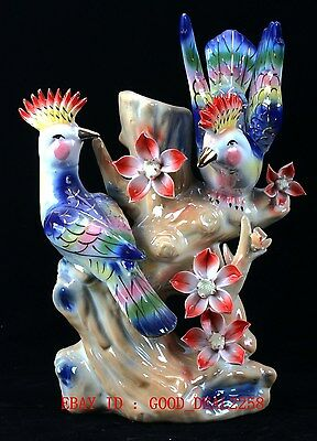 Chinese Porcelain Handwork Carved Peach Blossom & Two Birds Statue ZJ13