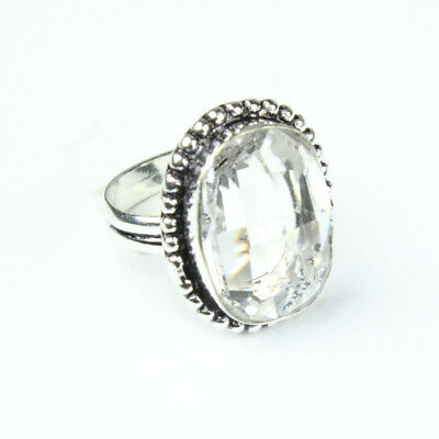 925 Sterling Silver Overlay Crystal Ring Sz Handmade Fashion Jewelry
