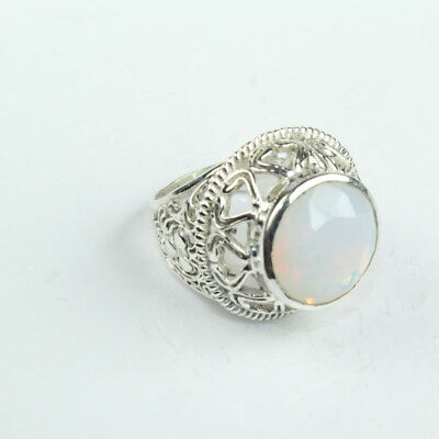 925 Sterling Silver Overlay Opelite Ring Sz Fashion Jewelry