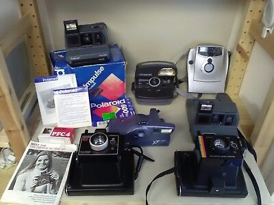 Vintage Polaroid Instant Camera Lot - 8 x cameras included (photo pack unused)