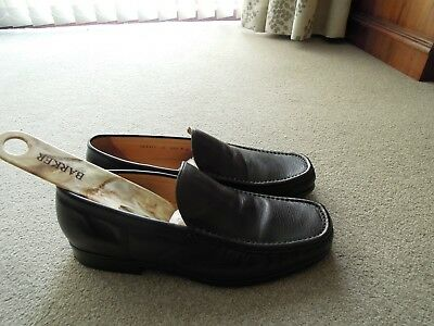 Barker Mens All Leather Shoes, Black, UK Size 8 New, Slip on style.