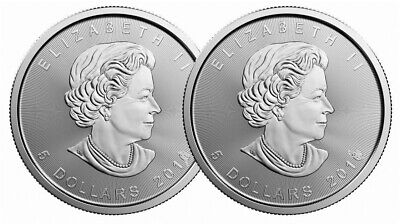 Lot of 2 - 2016 1oz Canadian Silver Maple Leaf $5 Coins .9999 Fine BU