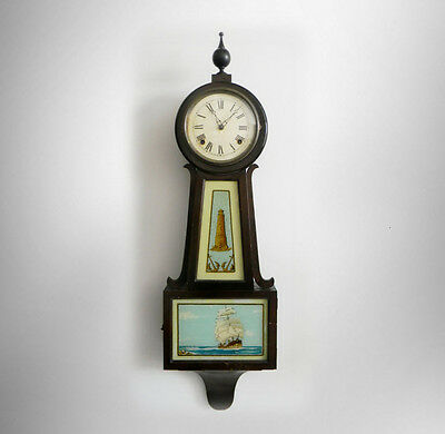 Sessions vintage tall banjo clock with nautical scenes - circa 1880  - FREE SHIP