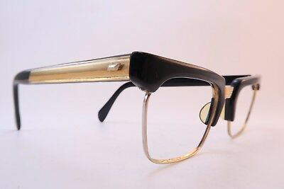Vintage 50s eyeglasses frames Size 48-20 metal bridge inlaid arm detail