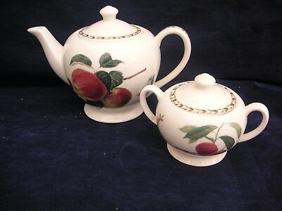 Queens China Royal Horticultural Society Hookers Fruit Teapot& Lidded Sugar Bowl