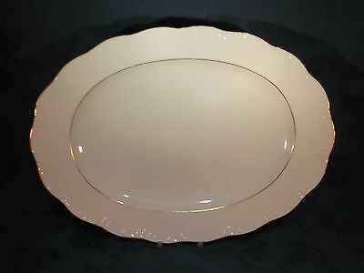 """Rosenthal Classic Rose Collection Gold 15.25"""" Oval Serving Platter (E)"""