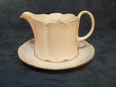 Rosenthal Classic Rose Collection Gold Trim Gravy Jug and Saucer (E)