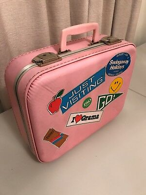 Retro Pink Suitcase Or Hand Luggage Carry On Bag Vintage