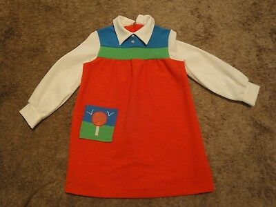 Vintage 70s Girls Toddler Dress Primary Colors Red Green Blue White Cute