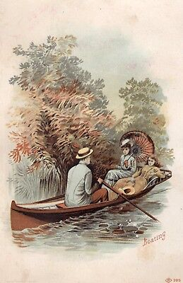 1800's Victorian Card - Boating - Selling Lot Of Cards - Free Combine Ship