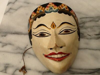 Antique Indonesian mask wood hand painted