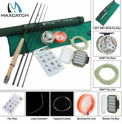 Fishing Rod Combo 7.6FT 3WT 4Pcs Fly Rod Fly Reel with Fly Lines