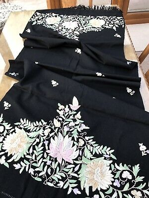 A Beautiful Black Embroidered Piano Shawl