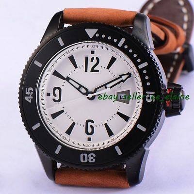 43mm Black PVD Case Mens Automatic Watch Sterile Dial Black Mark Brown Strap 02
