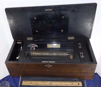 ANTIQUE CYLINDER MECHANICAL MUSIC WOOD BOX Swiss For Parts or Repair !