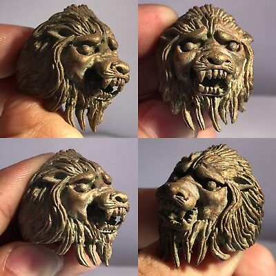 Medieval Old Bronze Commander Ring With Lion Head