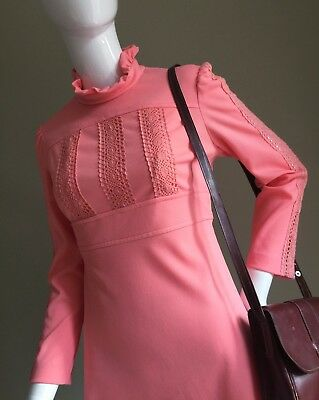 VINTAGE Pink Peach Crotchet Detail LACE Mini DRESS - MANDARIN Collar Vtg - 10