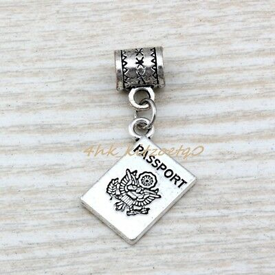 15pcs Dangle Ancient silver passport Charm Big Hole Beads Fit Charm Bracelet