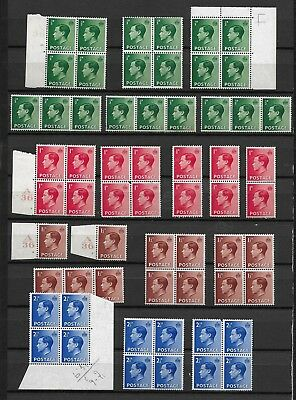1936/37 GB  KEd8 EXCELLENT MNH COLLATION OF OVER 12 FULL SETS IN BLOCKS FOUR