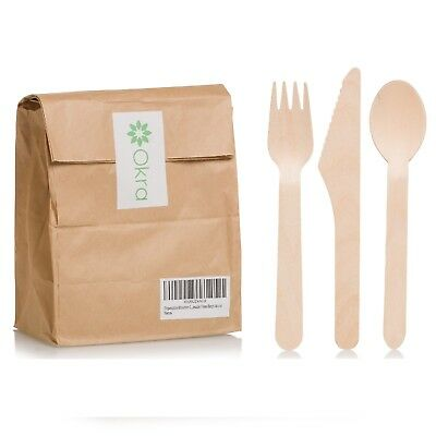 Disposable Party Cutlery Wooden Eco Friendly Tableware Wood Knives Forks Spoons