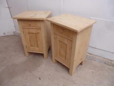 A Lovely Pair of Antique/Old Pine Small Square Bedside Cabinets to Wax/Paint