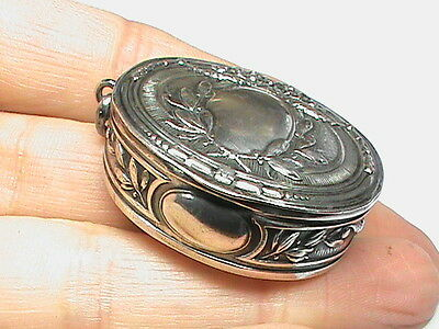 Antique Victorian solid Silver Pill Box Mirror powder Compact Rouge Pendant