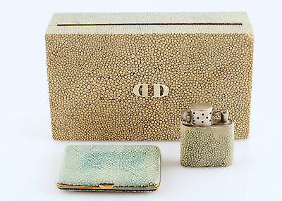 Shagreen 'DD' Cigarette Case, Lighter, And Compact