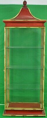 Fab Palm Beach Chinoiserie 3 Shelf Glass Bamboo Pagoda Etegere