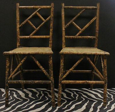 Pair of Bamboo Side Chairs w/ Wicker Cane Seats
