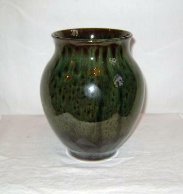 Holkham Studio Pottery Vase  Green Mottled Glaze: 17 cm high C.1960 /70s