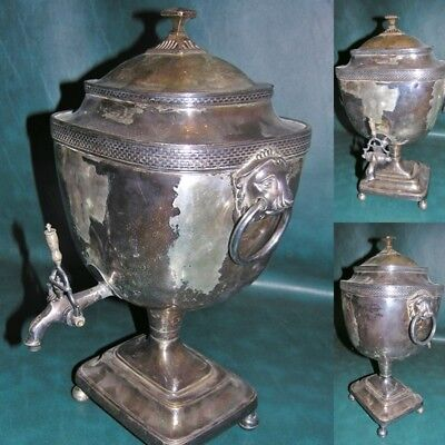 Antique Sheffield Silver Plate Plated  Urn Samovar Lion Head 19""