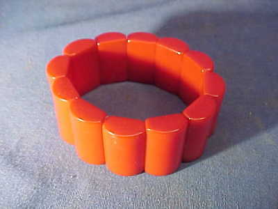 Orig 1930s CHERRY RED BAKELITE Elastic Stretch BRACELET