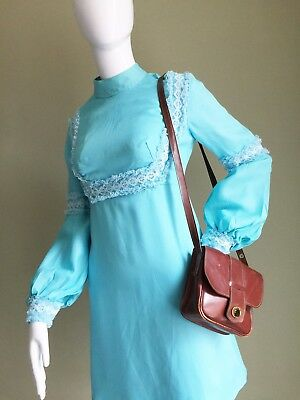 VINTAGE 60's TURQUOISE Mod MINI Mandarin COLLAR Lace Detail DRESS - Twiggy - 10