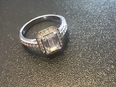 Vintage Crystal Swarovski Engagement Ring Looks Like Diamonds Authentic Stamped