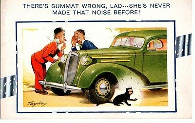 There's Summit Wrong Lad Taylor Artist Signed Comic Postcard Motor Car