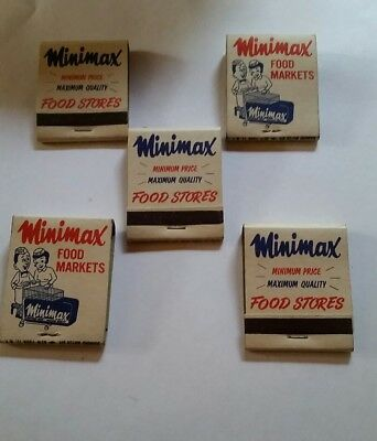 "Vintage Lot of 5 ""Minimax Food Stores"" Matches Match Books"