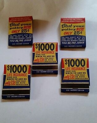 "Vintage Lot of 5 ""Buy Life Insurance"" Matches Match Books"