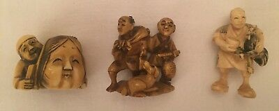 Group 3 Netsuke Antique Japan Japanese Carved Meiji Edo Quality Signed