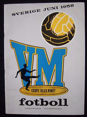 RARE 1958 World Cup official tournament programme Sweden 1st edition blank rear