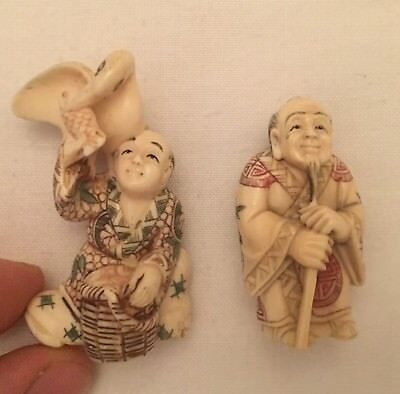 Group 2 Netsuke Antique Japan Japanese Carved Edo Meiji Quality Signed