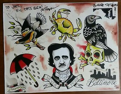 10 Vintage Colored Tattoo Flash Sheets Traditional Style Designs Art