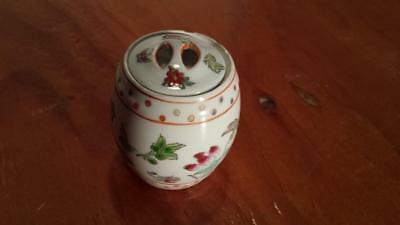 Vintage Chinese Porcelain Trinket Box Match Holder Jewelry Butterfly Dragon Fly