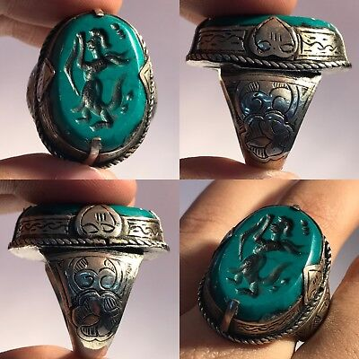 turquoise Antique mix Silver intaglio Stone Ring