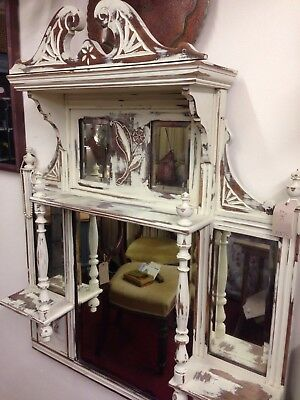 Pretty painted Victorian overmantle mirror
