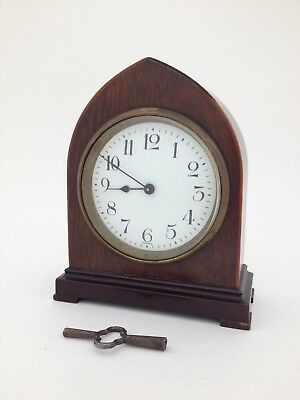 French Cathedral Mantel Clock, Miniature Inlaid Wood Case, Brass Movement W/Key