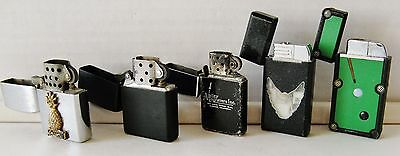 Lot of 5 Vintage & Modern Zippo, Pool Table, Etc. Flip Top Lighters – GUC
